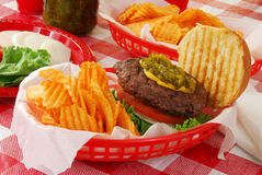 Cheeseburger in a basket Stock Photography