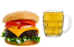 Cheeseburger with beer Royalty Free Stock Photography