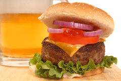 Cheeseburger and a beer Stock Photography