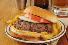 Cheeseburger and beer Stock Photo