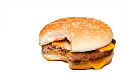 Cheeseburger with Bite Out Royalty Free Stock Photos