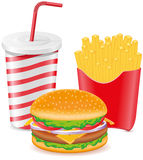 Cheeseburger brät Kartoffel und Papiercup mit Soda Lizenzfreies Stockbild