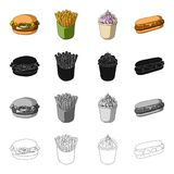 Cheeseburger, bun, flour and other web icon in cartoon style.Cafe, fast ,food icons in set collection. Stock Photography