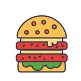 Cheeseburger, burger, έννοια χάμπουργκερ διανυσματική απεικόνιση
