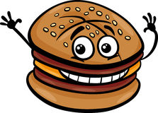 Cheeseburger cartoon character Royalty Free Stock Image