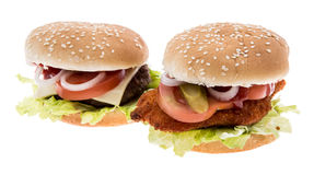 Cheeseburger and Chickenburger isolated on white Stock Photos
