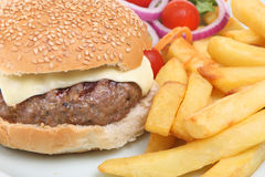 Cheeseburger and Chips Stock Image