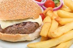 Cheeseburger and Chips Stock Image