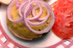 Cheeseburger close. Juicy cheeseburger with red onions close up Stock Image