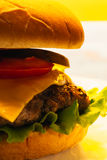 Cheeseburger close-up on a plate.  Stock Photo