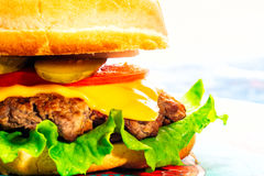 Cheeseburger close-up on a plate.  Royalty Free Stock Images