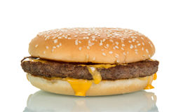 Cheeseburger close-up on white Royalty Free Stock Images