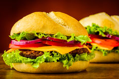 Cheeseburger closeup detail Royalty Free Stock Image
