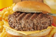Cheeseburger closeup Stock Photography
