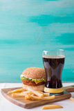 Cheeseburger with cola Royalty Free Stock Image