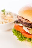 Cheeseburger with cole slaw Royalty Free Stock Photos