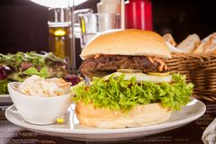Cheeseburger with cole slaw Stock Photo