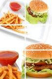 Cheeseburger-Collage lizenzfreies stockbild