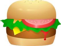 Cheeseburger com alface e tomate Fotos de Stock Royalty Free
