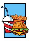 Cheeseburger com as fritadas da bebida e do francês ilustração do vetor