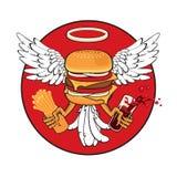 Cheeseburger com asas ilustração royalty free