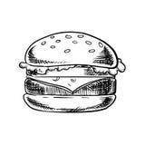 Cheeseburger com carne, vegetais e queijo ilustração stock