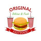 Cheeseburger com o emblema do fast food da bebida da soda ilustração royalty free