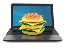 Cheeseburger com portátil ilustração stock