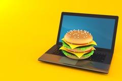 Cheeseburger com port?til ilustração stock