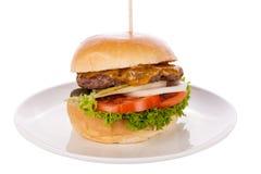 Cheeseburger con el slaw del col Imagen de archivo