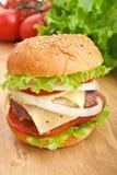 Cheeseburger, con gli ingredienti Fotografia Stock Libera da Diritti