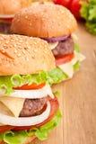 Cheeseburger, con gli ingredienti Immagini Stock Libere da Diritti