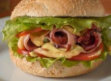 Cheeseburger con il prosciutto, il pomodoro e l'insalata Fotografia Stock