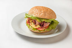 Cheeseburger con il prosciutto, il pomodoro e l'insalata Fotografie Stock