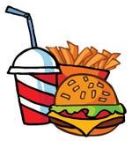 Cheeseburger con la bebida y las patatas fritas Imagenes de archivo