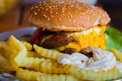 Cheeseburger con las patatas fritas Imagen de archivo