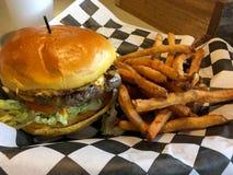 Cheeseburger con las patatas fritas fotos de archivo libres de regalías