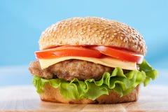 Cheeseburger con los tomates y la lechuga imagenes de archivo