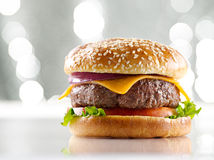 Cheeseburger with copy space royalty free stock photos