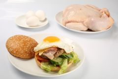 Cheeseburger, costoleta da galinha, bacon, tomates e fatias de queijo, vestidos com molho e salada verde para um menu do restaura imagem de stock royalty free