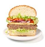 Cheeseburger Cut In Half Royalty Free Stock Image