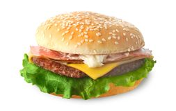 Cheeseburger (d'isolement) Photographie stock