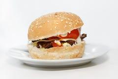 Cheeseburger d'isolement d'un plat Photographie stock