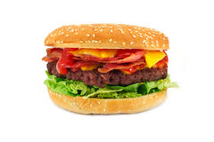 Cheeseburger de lard Photographie stock libre de droits