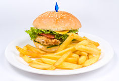Cheeseburger with deep fried potatoes Royalty Free Stock Image