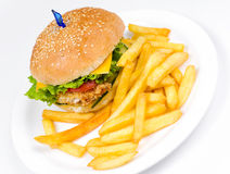 Cheeseburger with deep fried potatoes Royalty Free Stock Photos