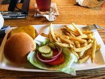 Cheeseburger degli alimenti a rapida preparazione con le patate fritte Fotografia Stock Libera da Diritti
