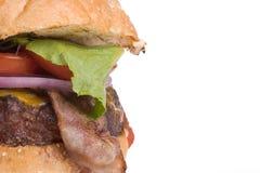 Cheeseburger del tocino, la derecha del espacio de la copia Imagen de archivo