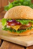 Cheeseburger. Delicious fresh homemade cheeseburger closeup royalty free stock photos