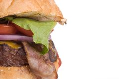 Cheeseburger della pancetta affumicata, destra dello spazio della copia immagine stock